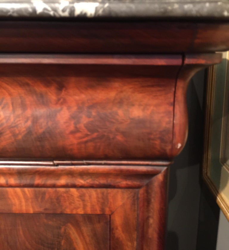 French Secretary Flame Mahogany with Marble Top, circa 1840 For Sale 13