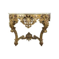 French Serpentine Marble-Top Console Table