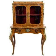 French Serpentine Marquetry Inlaid Display Cabinet
