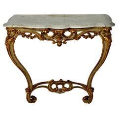 French Serpentine Painted and Water Gilded Console