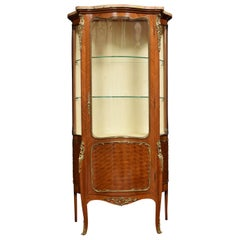French Serpentine Walnut and Kingwood Vitrine