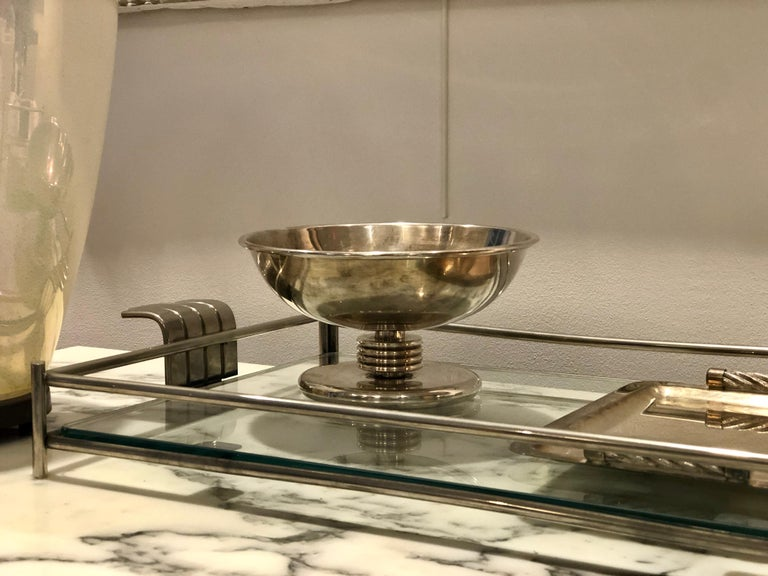 French Serving Tray of Chrome and Glass by Christian Dior 3