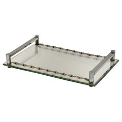 French Serving Tray of Chrome and Mirrored Glass from the Art Deco Period