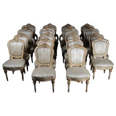 French Set of 18 Salon Chairs / Armchairs, Napoleon III