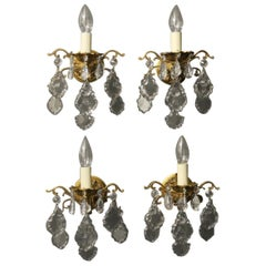 French Set of 4 Gilded Single Arm Wall Lights