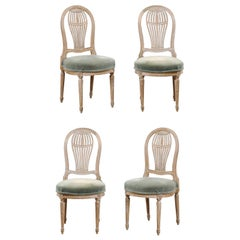 French Set of 4 Pierce-Carved Balloon-Back Side Chairs, Jansen-Style
