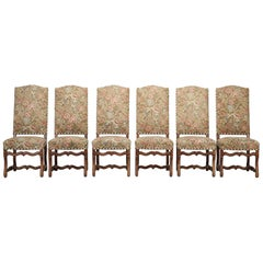 French Set of 6 Dining Side Chairs with Wooden Peg Construction