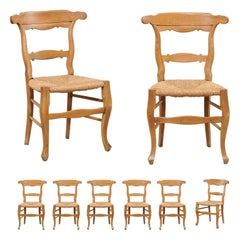 French Set of 8 Side Chairs with Hand-Woven Rush Seats, Early to Mid 20th C