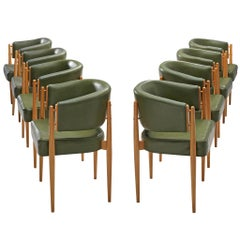 French Set of Eight Dining Chairs in Green Leatherette