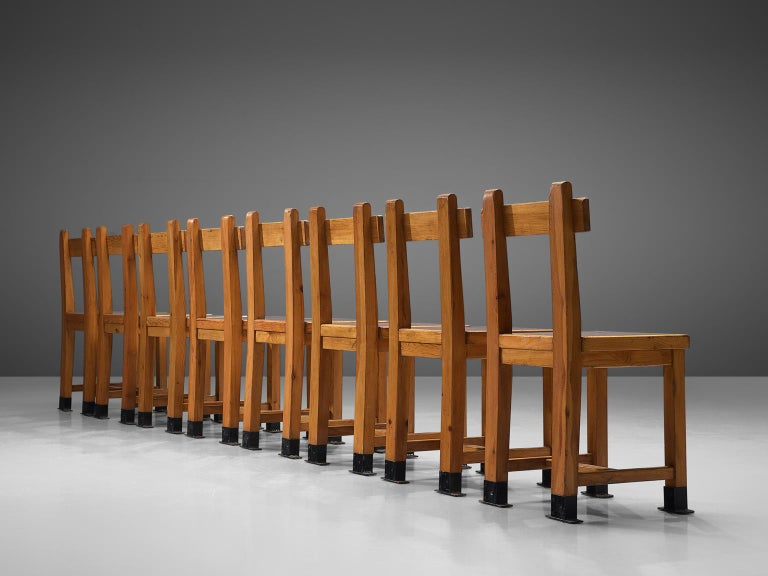 Art Deco French Set of Eight Nautical Chairs in Oak, 1940s For Sale