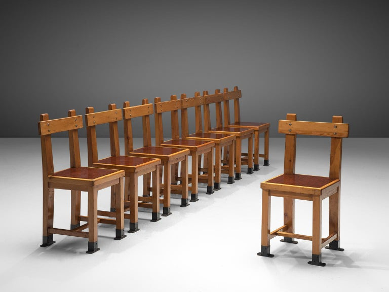 French Set of Eight Nautical Chairs in Oak, 1940s In Good Condition For Sale In Waalwijk, NL