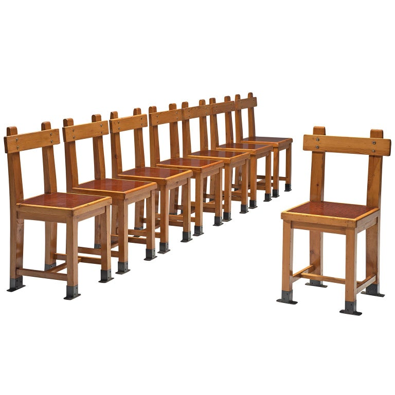 French Set of Eight Nautical Chairs in Oak, 1940s For Sale