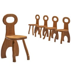 French Set of Five Robust Dining Chairs in Oak