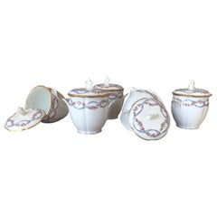 French Set of Five Small Hand Painted Porcelain Jars by Limoge