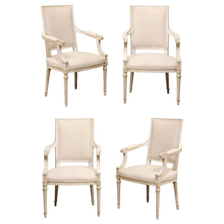 French Set of Four Carved Wood Armchairs with Newly Upholstered Seats and Backs For Sale