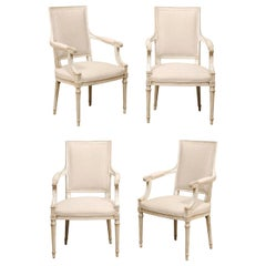 French Set of Four Carved Wood Armchairs with Newly Upholstered Seats & Backs