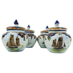 French Set of Four Cream Pots Faience with Boats