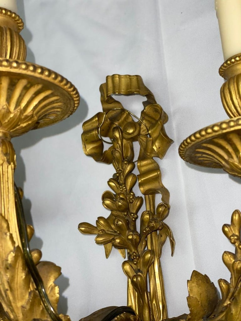French Set of Four Ormolu Sconces, 19th Century For Sale 4
