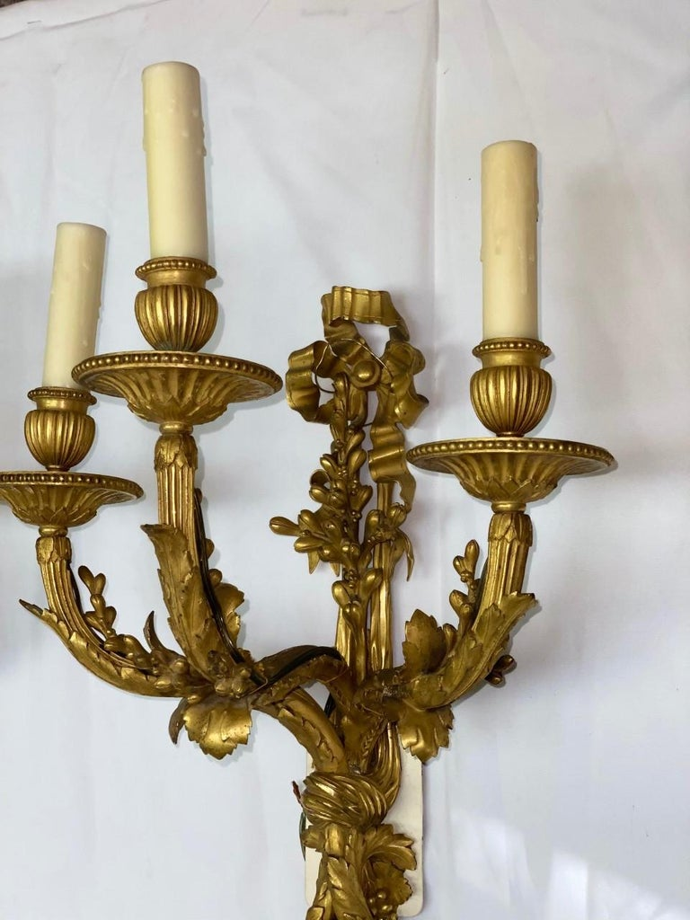 French Set of Four Ormolu Sconces, 19th Century In Excellent Condition For Sale In Cypress, CA