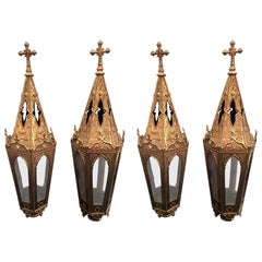 French Set of Four Polished Brass Pole Lanterns or Candlesticks, 19th Century
