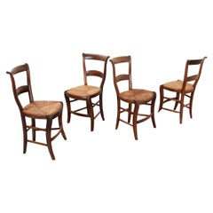 French Set of Four Rush Seat Chairs