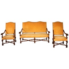 French Set of Regency Style Armchair and Sofa in Oak