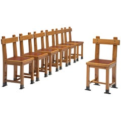 French Set of Seven Nautical Chairs in Oak, 1940s