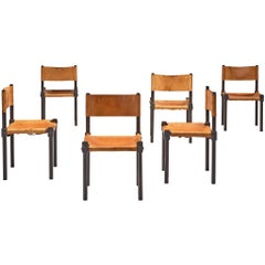 French Set of Six Dining Chairs in Cognac Leather and Ebonized Wood