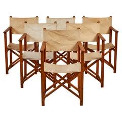 French Set of Six Folding Canvas Safari Chairs