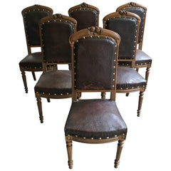 French Set of Six Oak Wood Dining Chairs from Late 19th Century