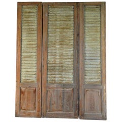 French Set of Three Doors with Metal Louvered Shutters