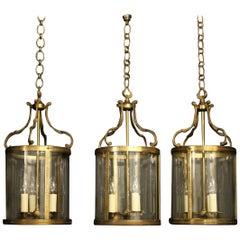 French Set Of Three Gilded Convex Antique Lanterns