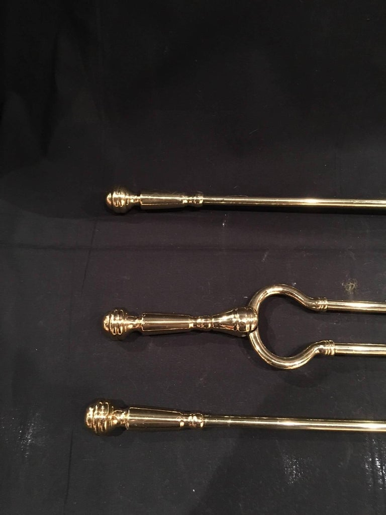 French Set of Three Polished Brass Fire Irons, 19th Century For Sale 1