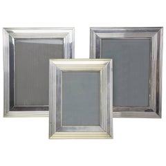 French Set of Three Vintage Silver Christofle Frames, 1960-1970