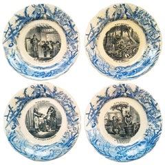 """French Set """"Talking Plates"""", Signed Hippolyte Boulenger Choisy-le-Ro"""