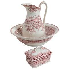 French Set Wash Bowl Pitcher and Soap Dish Sarreguemines Parisia Model