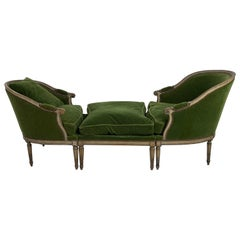 French Settee, Two Chairs and One Pouf