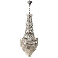 French Seven-Tier Crystal Prisms and Florets Chandelier