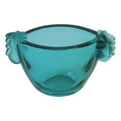 Modern French Sèvres Blue Green Crystal Vase Vessel