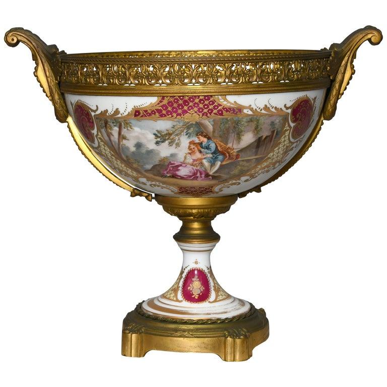 French Sevres Gilt Bronze Porcelain Pedestal Centerpiece Bowl For Sale