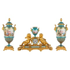 French Sevres, Louis XVI Style Clock Set, 1880