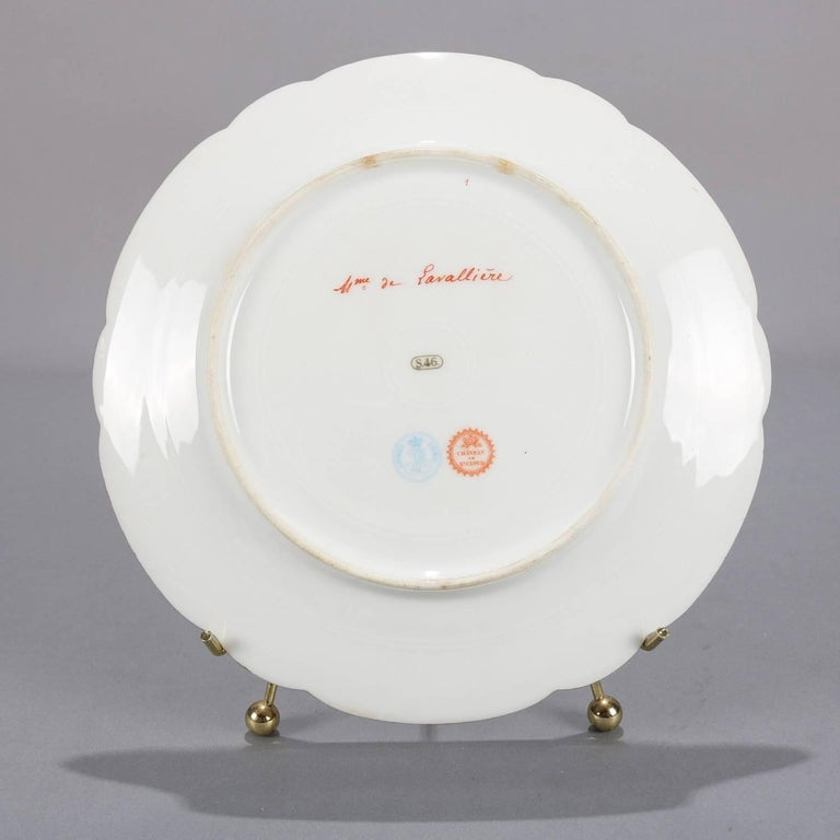 French Sevres Painted and Gilt Portrait Plate Madame de Pavalliere, 19th Century For Sale 1