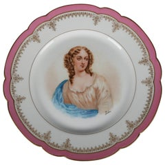 French Sevres Painted and Gilt Portrait Plate Madame de Pavalliere, 19th Century