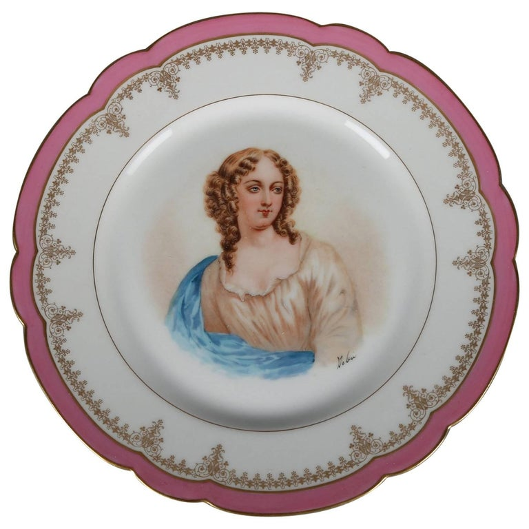 French Sevres Painted and Gilt Portrait Plate Madame de Pavalliere, 19th Century For Sale