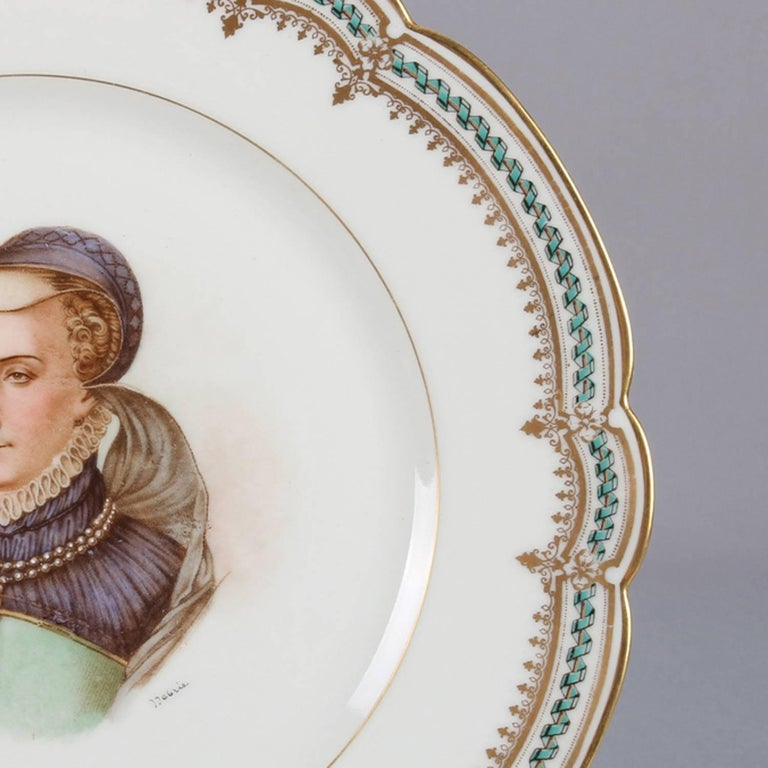 French Sevres Painted and Gilt Portrait Plate of Jeanne D'Albret, 19th Century For Sale 2