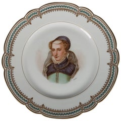 French Sevres Painted and Gilt Portrait Plate of Jeanne D'Albret, 19th Century