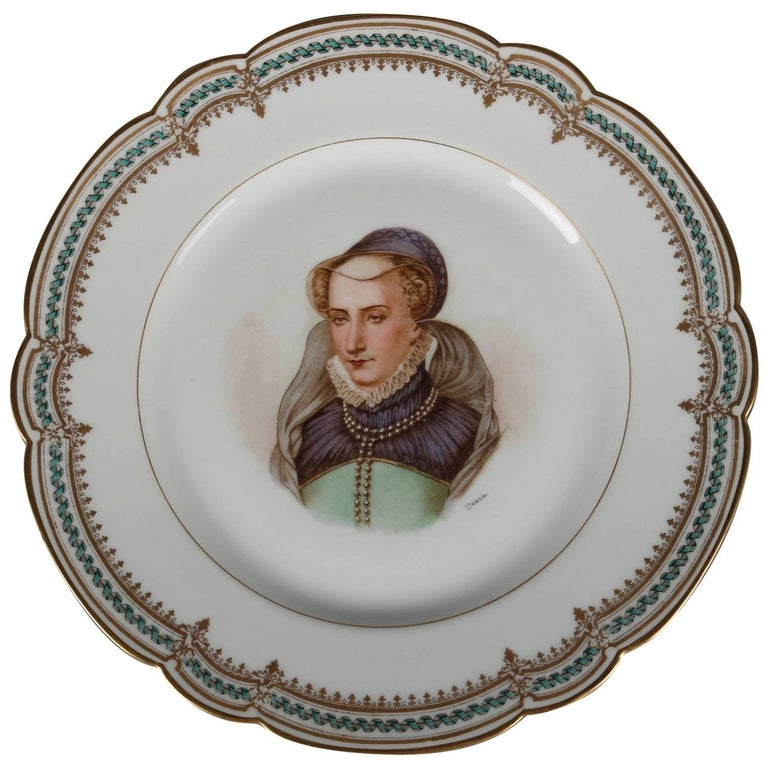 French Sevres Painted and Gilt Portrait Plate of Jeanne D'Albret, 19th Century For Sale