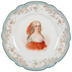 French Sevres Painted & Gilt Portrait Plate of Madame de Montespan 19th Century