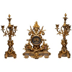 French Sèvres Porcelain Clock Set