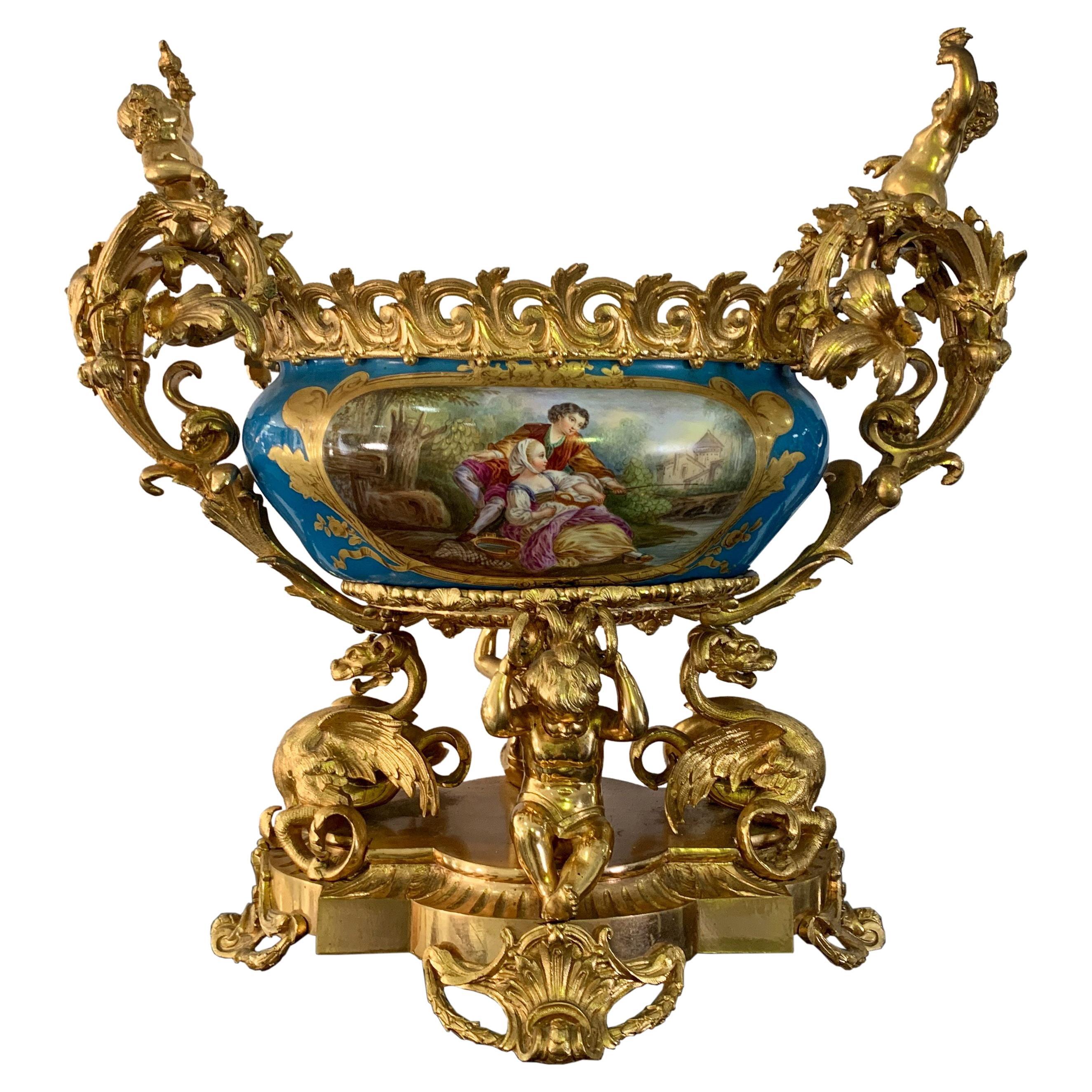 French Sevres Porcelain Gilt Bronze Mounted Centerpiece